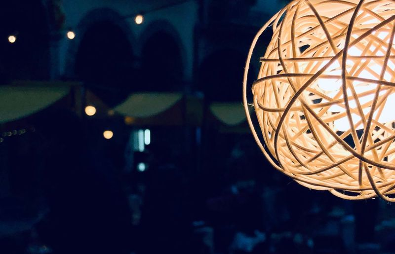Illuminated Lighting Equipment Night Focus On Foreground Hanging Indoors  Close-up No People Decoration Low Angle View Shape Light Geometric Shape Architecture Dark Sphere Circle Built Structure Design Electricity  Capture Tomorrow