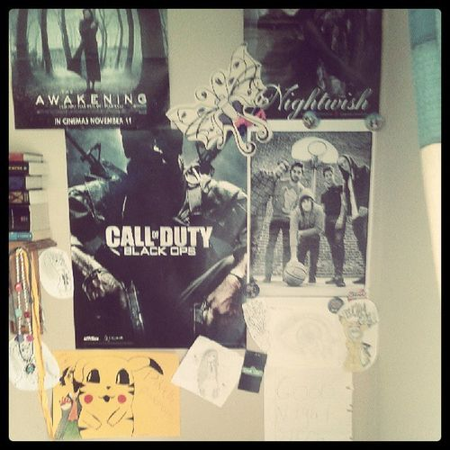 My wall before and youll see affter later (evil grin) Callofdutyblackops ,Pokémon Pikachu Youmeatsix nightwish anime manga drawings theakakening