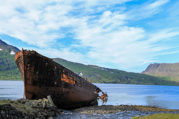 Abandoned Boat Ride Cloud - Sky Day Iceland Nature Nautical Vessel No People Outdoors Rusty Sinking Sky Water Wrack