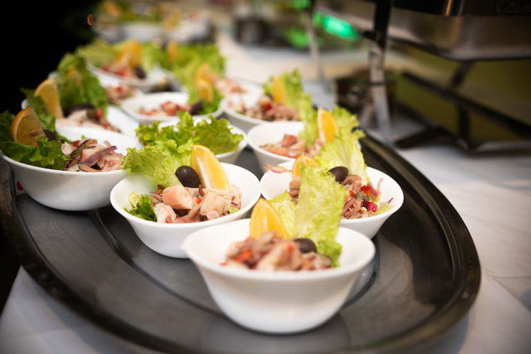 Close-up of meal served on table-sea food salade