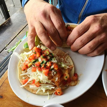 Tacos Fish Tacos Salsa Mexican Food Dining Al Fresco Hands Holding Food Eating