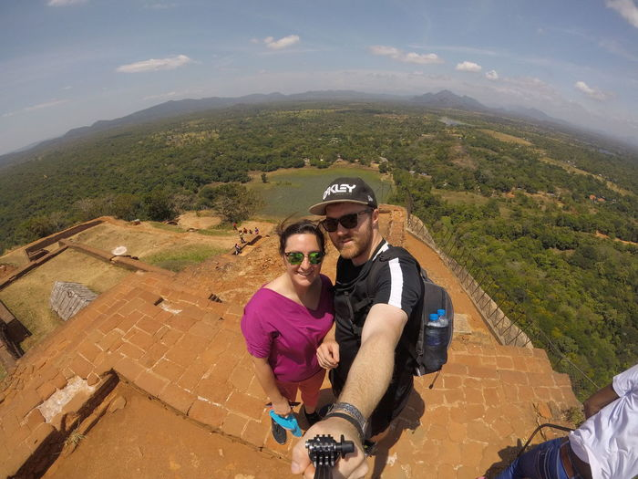 A very high rock Photography Gopro Sri Lanka Lion Rock Headwear Mountain Portrait High Angle View Sunglasses Sky Landscape