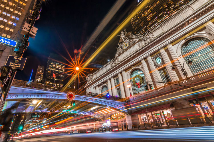 Grand Central Station New York New York City Architecture Blurred Motion Building Building Exterior Built Structure City City Life City Street Illuminated Light Trail Long Exposure Motion Night No People Road Speed Street Transportation Travel Travel Destinations