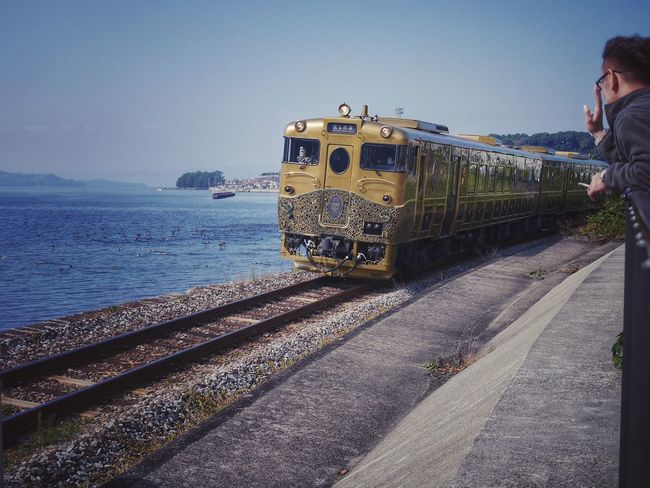 SEA SIDE LINER Take a A-train Omura bay Omura City Nagasaki prefecture Japan Scenery : Kyushu Railway Company JR Kyushu Design and Story Train No.10 How's The Weather Today? Fine day Today Morning Sea And Sky