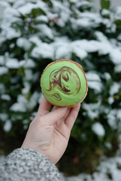 Green Color Munich Bayern Berliner Ansichten Close-up Day Donautal Donut Focus On Foreground Food And Drink Freshness Green Color Holding Human Body Part Human Hand Krapfen One Person Outdoors People Personal Perspective Pistachio Real People Snow Sweet Food Treat