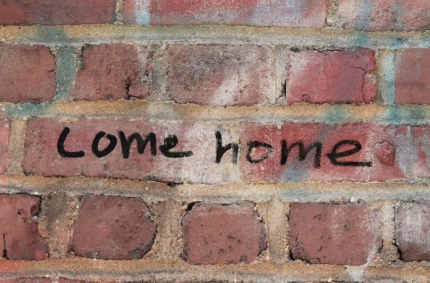 """Come home"" Red Brick Bricks Wall Writing Writing On The Walls New York Chelsea USA USAtrip EyeEm EyeEm Best Shots EyeEm Selects EyeEmBestPics EOS Canon Canonphotography Canon_photos Text Western Script Communication Full Frame Day No People Textured  Backgrounds Close-up Built Structure Architecture Outdoors"
