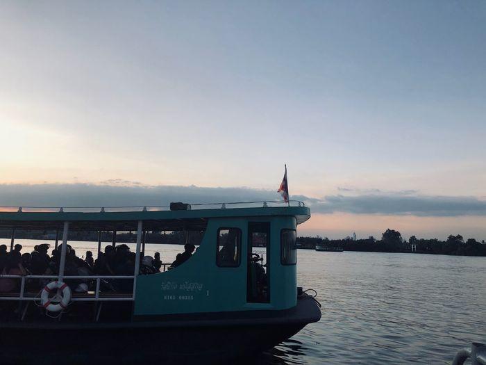Shuttle Boat Water Sky Transportation Nautical Vessel Sea Mode Of Transportation Sunset