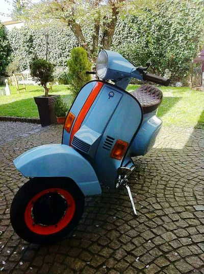 Vespa Day Outdoors No People Retro Vintage Gulf 70s Oldtimer Old Garden Summer Bella Italia Bella Vita Italy RideOut Absence Tree Cobblestone Footpath Paving Stone Hedge Outdoors Day Park First Eyeem Photo