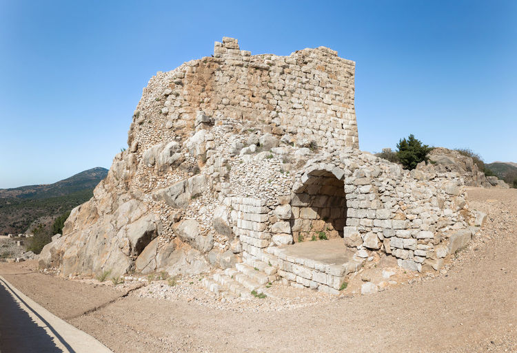 The remains of one of the side passages in Nimrod Fortress located in Upper Galilee in northern Israel on the border with Lebanon. History Israel Nimrod Fortress Castle Border Stone Material Wall - Building Feature Saladin Beybars Crusaders Ayubids Mamluks Assassins Tower Heritage Travel Destinations National Park Hill Old Ancient Architecture Medieval Ruin Protection Fort Gate