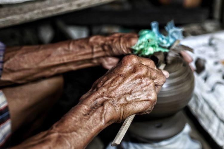 Pottery Art Thailand Photos Hand Human Hand Close-up