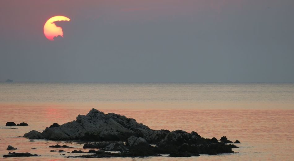 Slovenia Beach Beauty In Nature Day Horizon Over Water Nature No People Outdoors Rock - Object Scenics Sea Sky Sun Sunset Tranquil Scene Tranquility Water Lost In The Landscape Perspectives On Nature An Eye For Travel