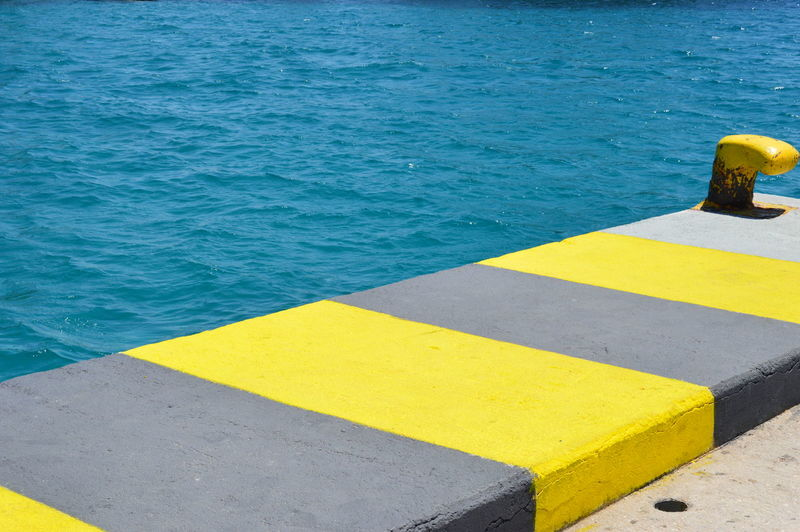 Contrasts Day Dock Dockside High Angle View No People Outdoors Sea Water Yellow High Contrast Travel Destinations EyeEm Best Shots Paint The Town Yellow