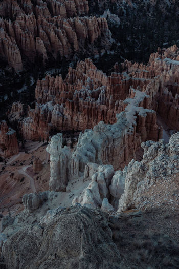 Aerial view of rock formations at bryce canyon national park