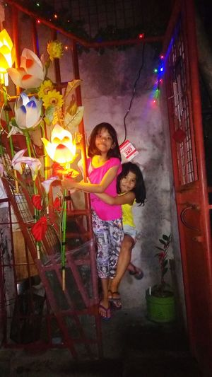 The Culture Of The Holidays Two People Child Night Fun Multi Colored Christmas Lights Christmas Decoration Christmas Children Only Exploring Style LittleRascals Littlegirl Christmas Decorations Christmastime Christmas Market Christmas Around The World Stairs Beautiful Lighting And Decoration Christmas Spirit Christmas2016 Inner Power