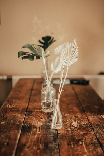 Plants and craft product in glass vase on wooden table at home