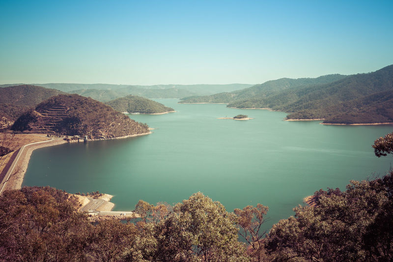 High Angle View Of Lake Against Clear Sky