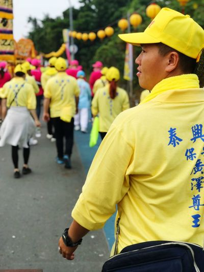The leader of the parade Liouciou Worshipper Taoism Festival Taiwan