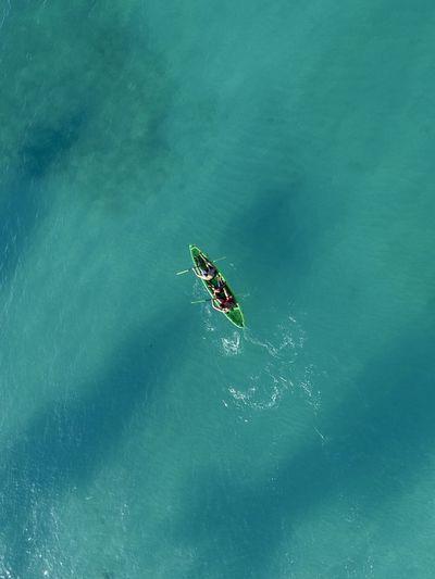 Aerial view of kayak in sea
