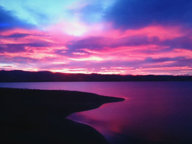 Nahuel Huapi, Bariloche ,Rio Negro, Argentina.. Sunset Landscape Mountain Lake Peace Horizon Sky Clouds Colors Morning Twilight Amanecer Lago Fine Art Photography