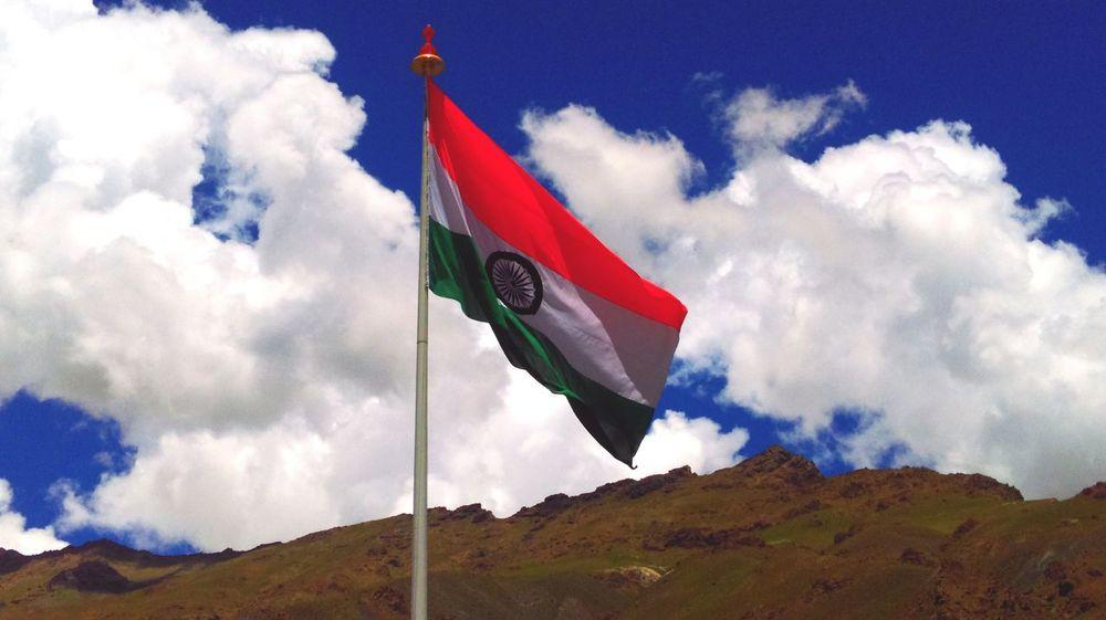 The fluttering pride! Indian Flag Kargil Azure Sky Clouds And Sky