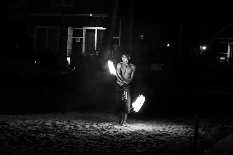 Fire play Night Illuminated Real People Full Length One Person Lifestyles Outdoors Building Exterior Built Structure Architecture Men Sport Young Adult One Man Only People Fire Fire Play Blackandwhite Bleach