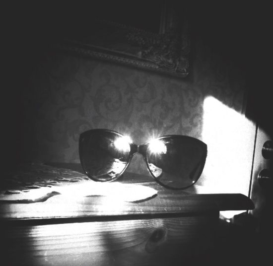 Bnw_retrospect Bmw_friday_eyeemchallenge Indoors  Sunlight Shadow Table Still Life No People Day Close-up Reflection Sunglasses Glasses