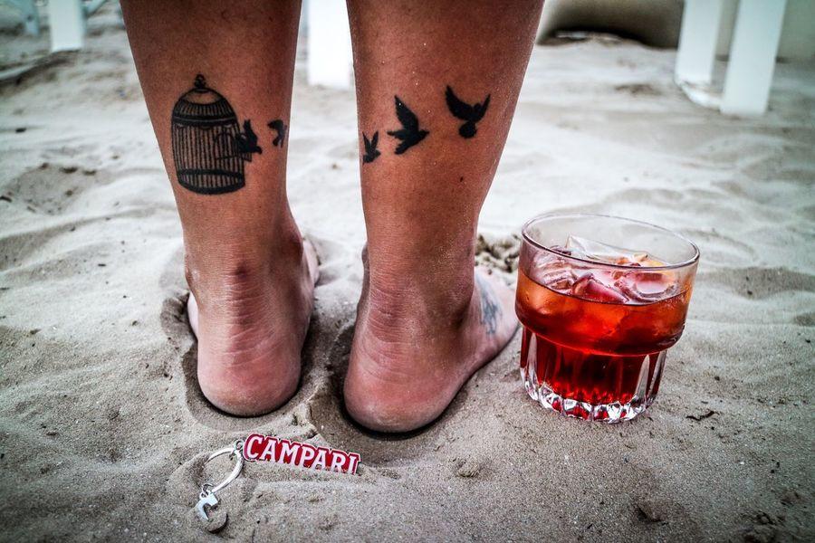 Campari Foot Tattoo Beach Summertime Taking Photos