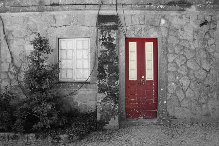 The Red Door. Architecture Black & White Black And White Blackandwhite Blackandwhite Photography Bnw Color Splash Colorsplash Door Edited Edited My Way Eye4photography  EyeEm Best Edits EyeEm Best Shots EyeEmBestPics From My Point Of View Minimal Minimalism Minimalobsession Old House EyeEm Gallery Taking Photos Portugal Fine Art Photography