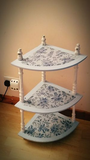 3 tier corner stand in bohemian blue and chalk white with rifle press wrap. £15.