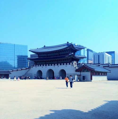 Architecture Winter Clear Sky Cold Temperature Travel Destinations Snow Building Exterior People Outdoors Adult Sky Adults Only Ice Rink Day Korean Loyalpalace Korean Culture Korean Traditional Architecture