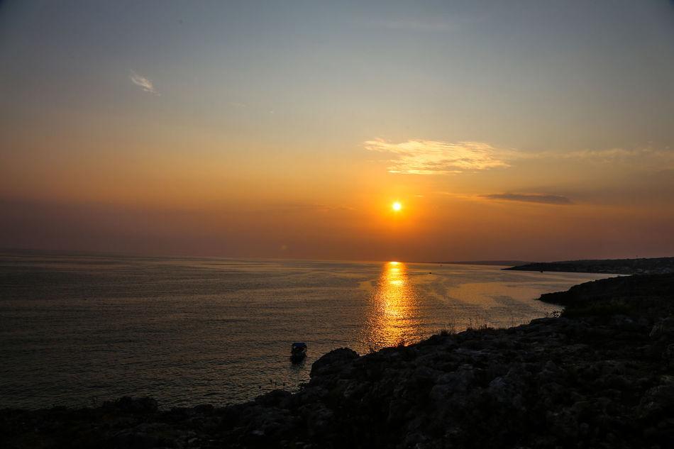 Italia Italy Leuca Mare Sea Sole Sunset The Sunset On The Sea Tramonto Sul Mare Tramonto♡ Traveling Vacanze