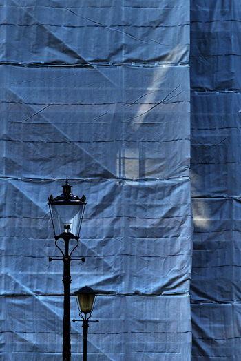 Architecture Close-up Day Illuminated Lighting Equipment Low Angle View Netting Scaffolding No People Outdoors Scaffold Street Light Translucent Light EyeEmNewHere The Week On EyeEm EyeEm Ready   The Architect - 2018 EyeEm Awards My Best Photo