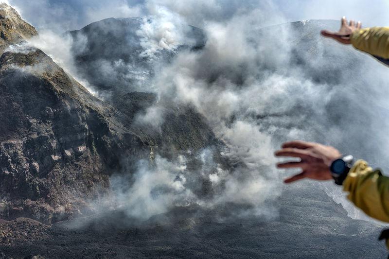 Etna volcano, inside the bocca nuova crater. sicily
