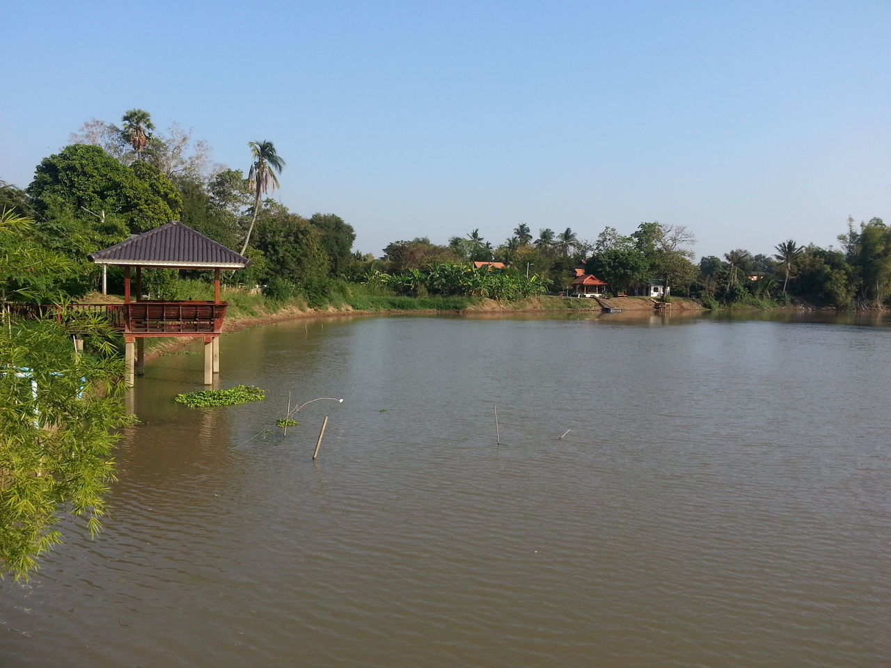 water, tree, built structure, lake, clear sky, architecture, outdoors, tranquility, day, stilt house, nature, no people, palm tree, scenics, beauty in nature, sky