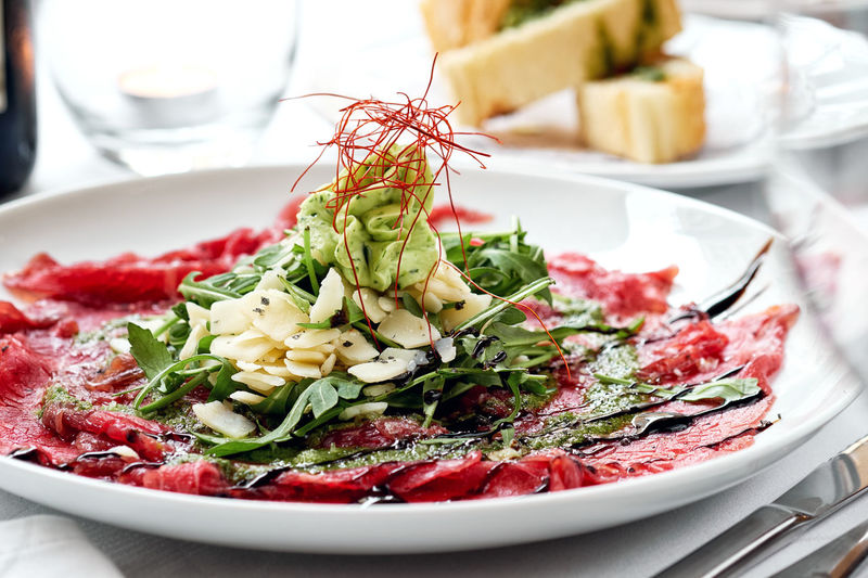 Meat carpaccio Dinner Dinner Time Dish Meal Meal Time Salad Table Setting Appetizer Carpaccio Close-up Delicious Delicious Food Food Meat Carpaccio No People Nobody Parmesan Cheese Place Setting Plate Ready-to-eat Restaurant Restaurant Dish Restaurant Food Salad Tasty