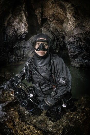 Preparation for exploration underwater parts of cave Bobacka. Cave Cavediving Caver Caving Discover Your City Diver Diving Equipment Exploration Girl Karst National Nature Outdoors Park Portrait River Rocks SCUBA Scubadiving Scubadivinggirls Stones Underground Water Woman
