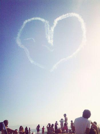 People Beach Watching Sky Love Writing Blue Heart White Crowd Skywriting Priceless