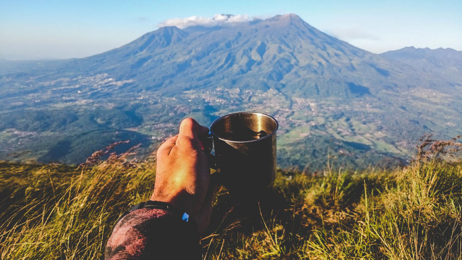 Cropped hand of man holding coffee in mug against mountains