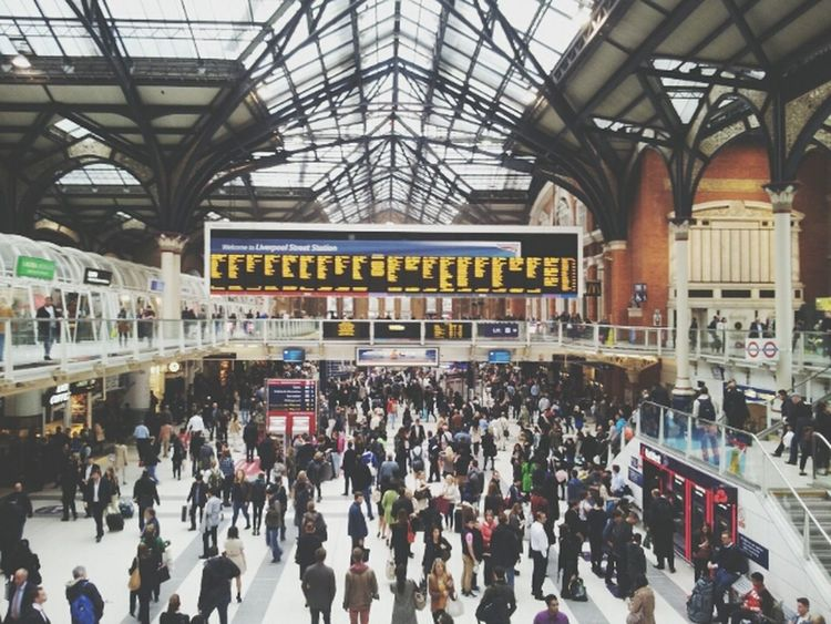 Architecture at Liverpool St, trainstation. London