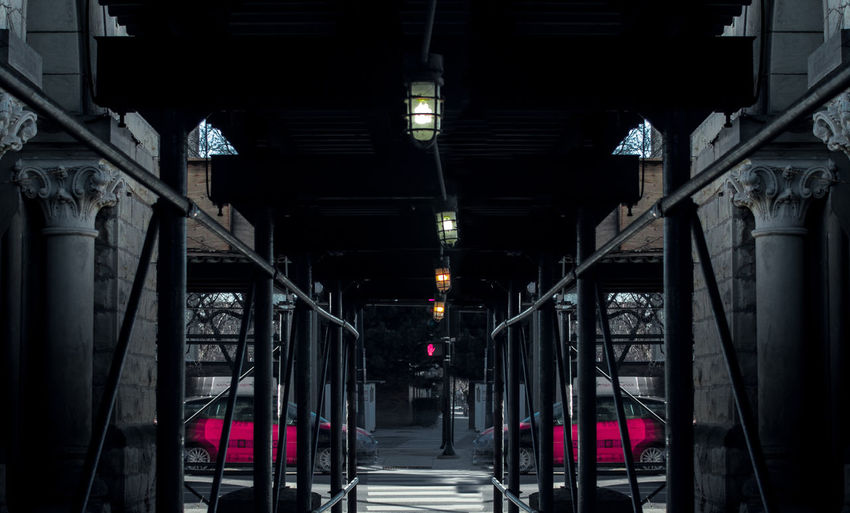 Edited Chicago Photograph Construction Edited Taxi Architecture Bridge Built Structure Car Column Columns And Pillars Day Illuminated No People Outdoors Photoshop Street Lights Symmetry The Way Forward