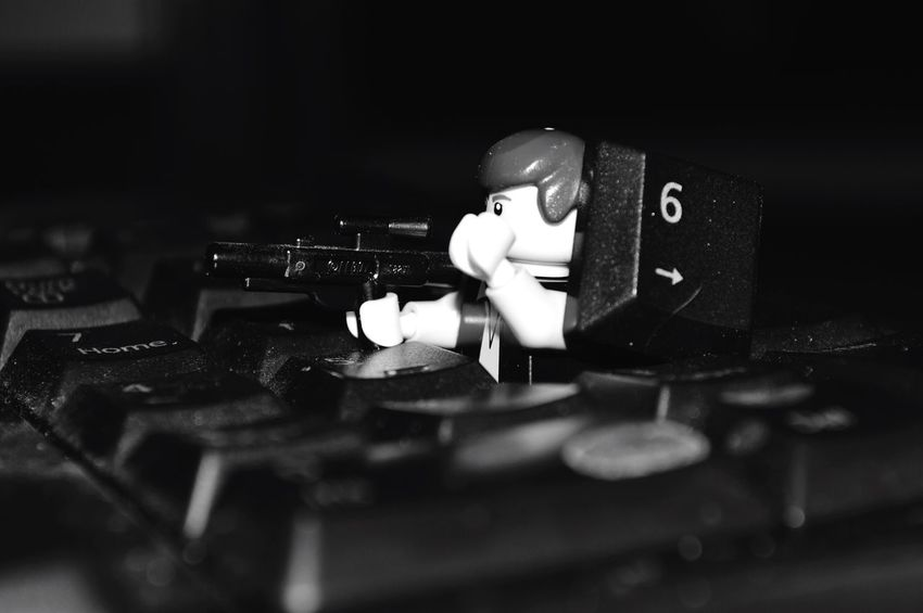 LEGO Star Wars Han Solo Keyboard Black And White Close-up