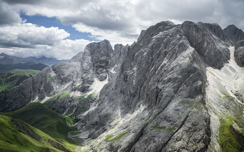 Rosengarten group massif panorama Rosengartengruppe Rosengarten Rock Massif Range Panorama Cloudscape Formation Mountain Peak No People Tranquil Scene Environment Mountain Range Scenics - Nature Beauty In Nature Sky Cloud - Sky Mountain Outdoors High Day Landscape Nature Tranquility