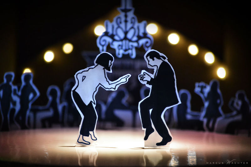PaperCut - dance with me Dance Lighting Equipment Paper View Movıe Paperartwork Pulp Fiction Scherenschnitt Sihlouettes