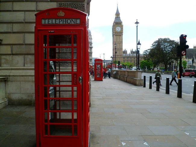 Will always photograph these when here Getting In Touch Connection Day Sidewalk Tourism London Historical Place Historical Building Travel Destinations Capital Cities  International Landmark Outdoors Incidental People Telephone Communication Telephone Box Big Ben Pavement Red Footpath Travel Red Telephone Box Phone Booth British Culture London Lifestyle