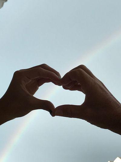 Human Hand Heart Shape Love Sky Outdoors