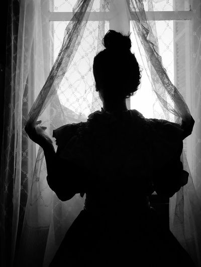 Rear view of silhouette woman standing by window