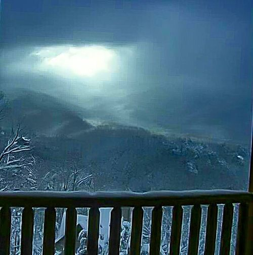 My Year My View Fog Outdoors Winter Cold Temperature Storm Cloud Illuminated Natural Phenomenon Porch Railing Senic View Hillside Snow Covered Snow Mountain Rustic Houses Log Cabins Mountain Range Beauty In Nature Rocky Mountain National Park Snowcapped Mountain Woods Forest Snow Mountains Landscape Rocky Mountains