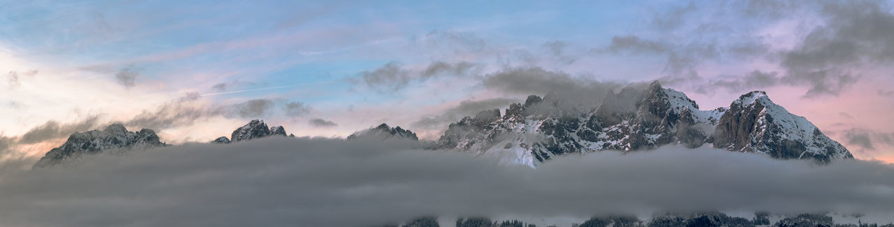 Wilder kaiser alps in colors with clouds