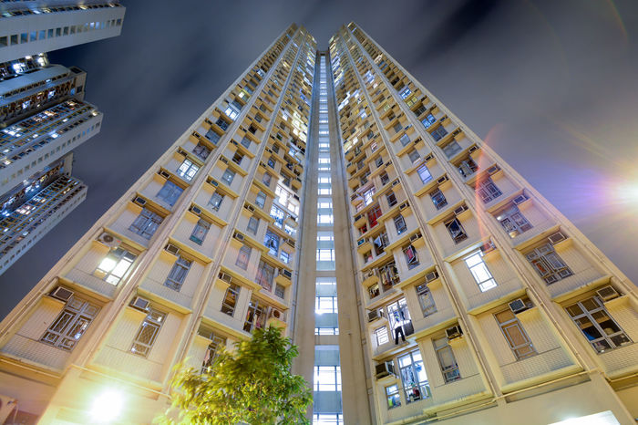 Public housing in Shatin district of Hong Kong, China. Architecture Building Exterior Built Structure City Hong Kong Illuminated Long Exposure Low Angle View Modern Night No People Public Housing Shatin Sky Suburb