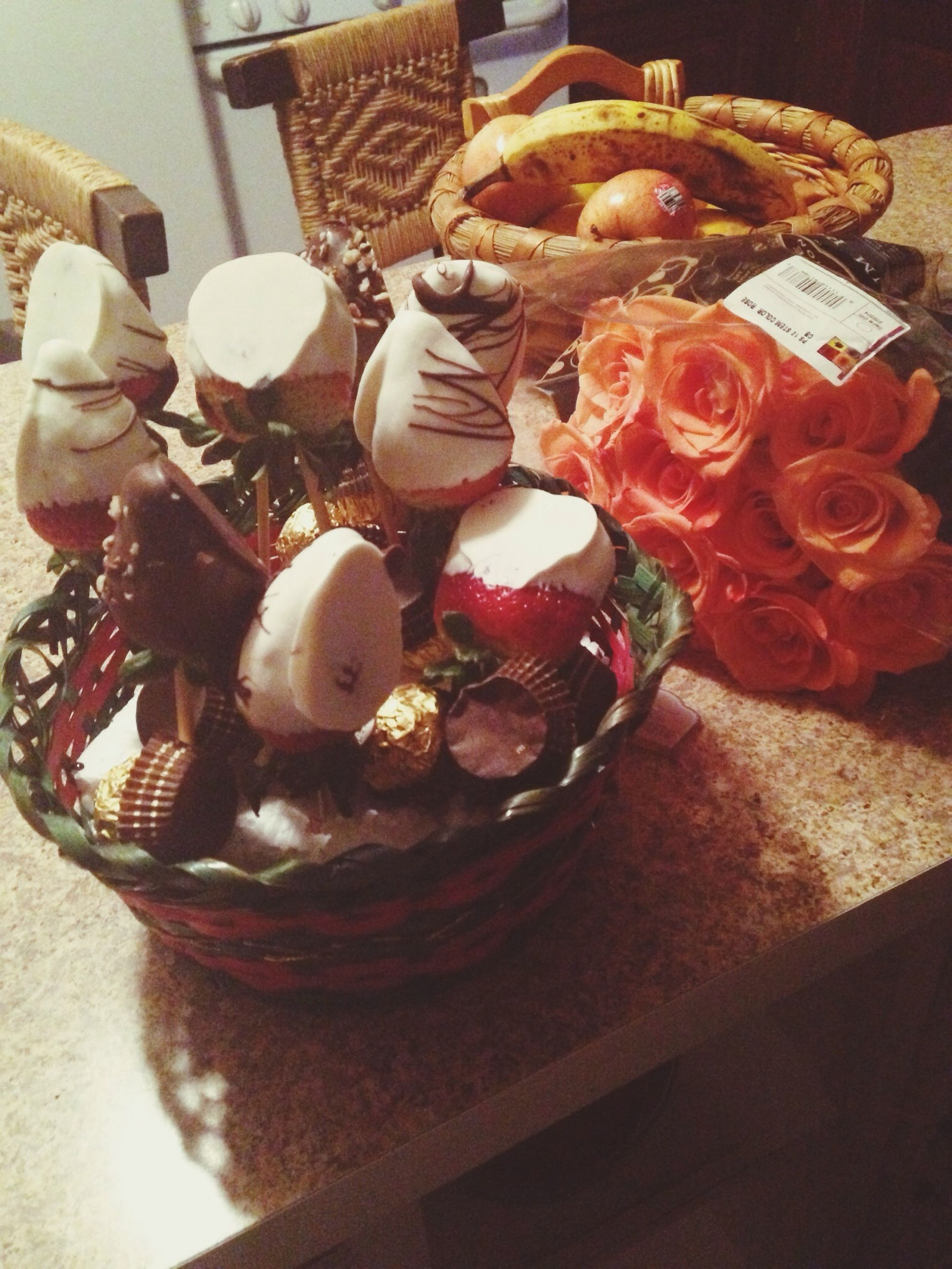 indoors, still life, food and drink, table, freshness, food, sweet food, high angle view, close-up, dessert, decoration, no people, indulgence, ready-to-eat, unhealthy eating, cake, plate, flower, variation, fruit